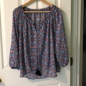 Sheer peasant blouse red white & blue